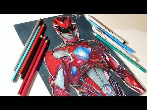 480x360 Speed Drawing Power Ranger Movie 2017 Red Ranger Desenhando