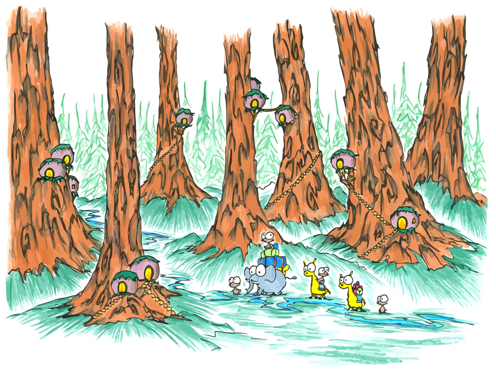 1600x1200 Screen Background Monkeys In A Giant Redwood Forest With Some Odd