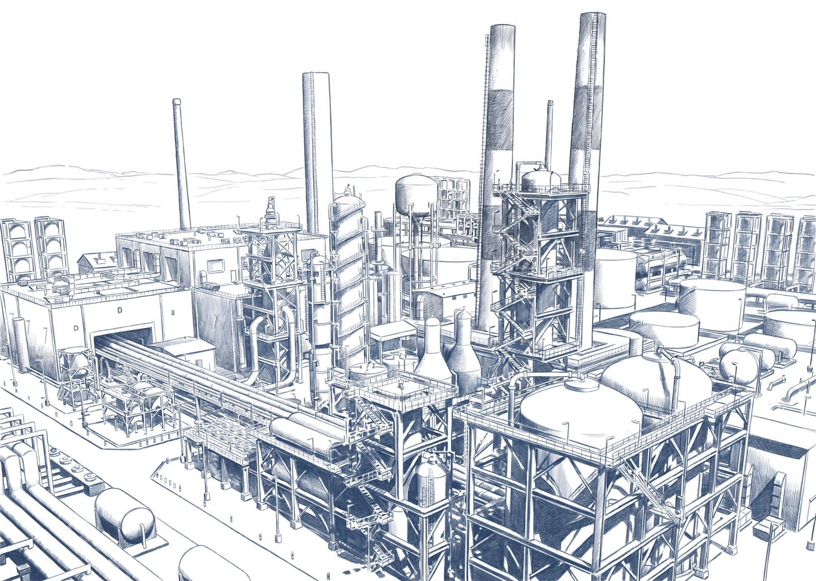 1600x1138 Illustrations And Visuals Pencil Drawing Of An Oil Refinery.