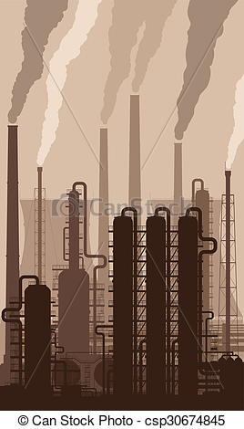 268x470 Oil Refinery Silhouette With Smoking Chimneys. Oil Refinery