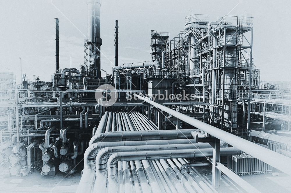 1000x665 Vintage Style Of Old Refinery Industry Royalty Free Stock Image