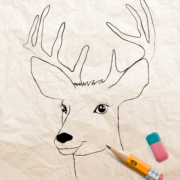 600x600 3d Vector Illustration Of Reindeer Drawing Free Vector In Adobe