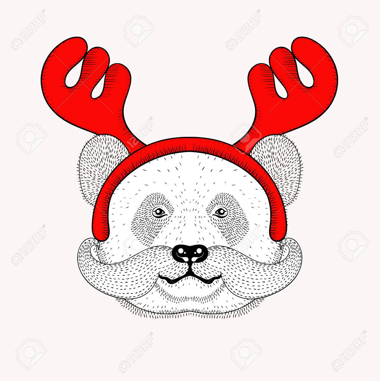 1299x1300 Sketch Panda Face With Mustache In A Reindeer Antlers. Hand Drawn