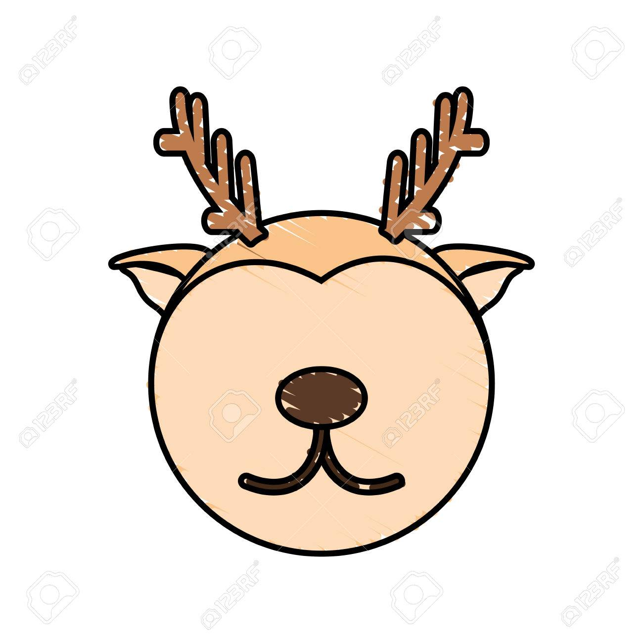 1300x1300 Drawing Deer Face Animal Vector Illustration Eps 10 Royalty Free