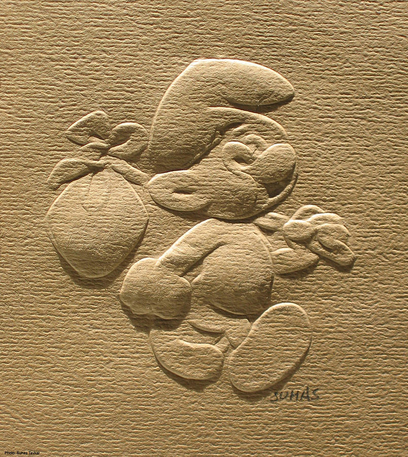 804x900 Relief Smurf On Paper Photograph By Suhas Tavkar