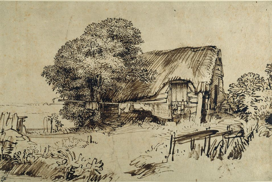 956x640 Rembrandt, A Thatched Cottage By A Large Tree. Ten Landscapes By