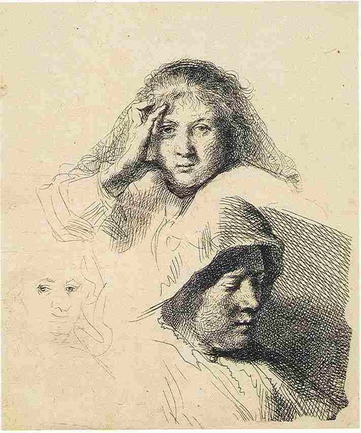 712x855 Rembrandt Drawings Rembrandt, Three Heads Of Women, One Very