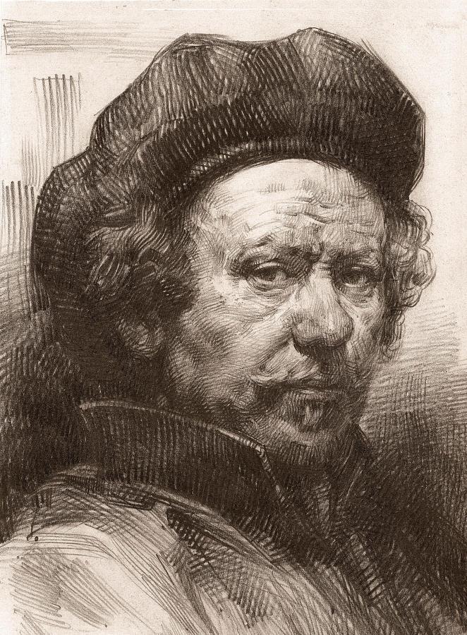 662x900 Rembrandt Portrait 1 Drawing By Behzad Sohrabi