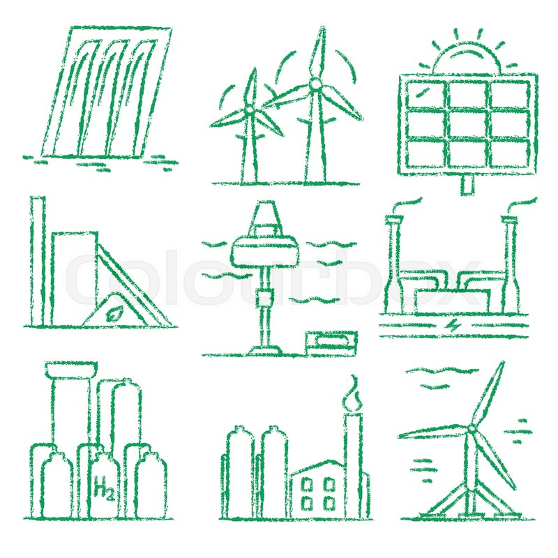 800x800 Collection Of Renewable Energy Hand Drawn Style Icons. Different
