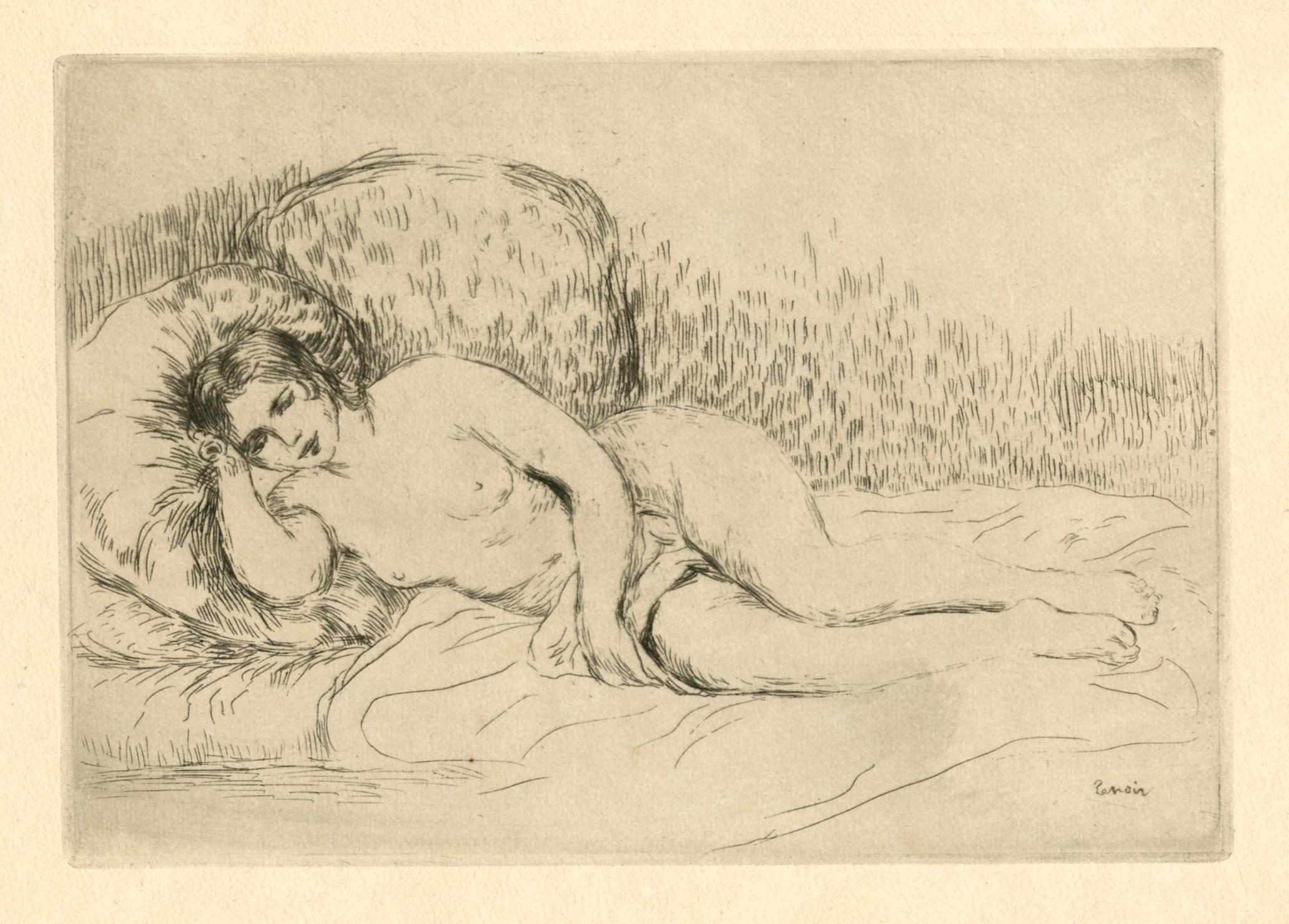 2058x1475 Pierre Auguste Renoir Original Etching Femme Nue Couchee (Tournee