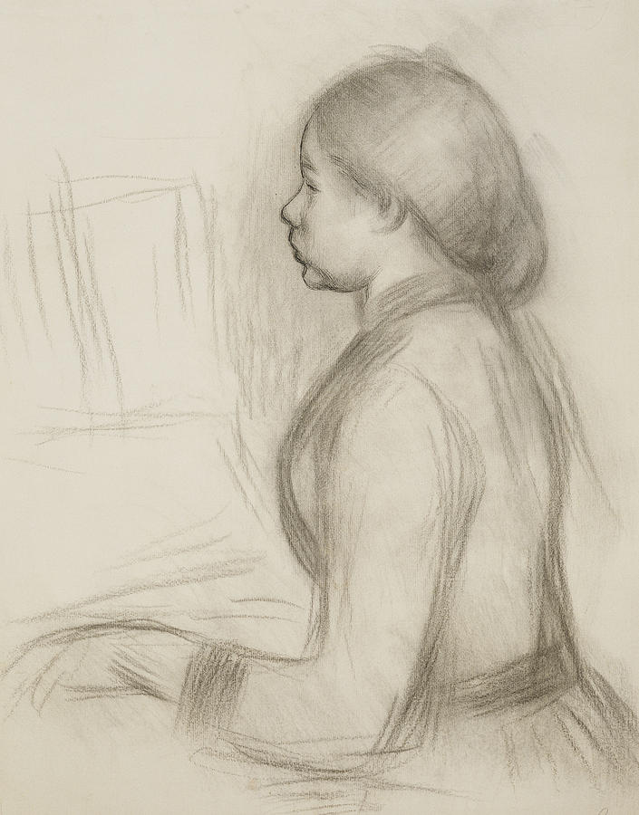 705x900 Study Of A Young Girl At The Piano Drawing By Pierre Auguste Renoir