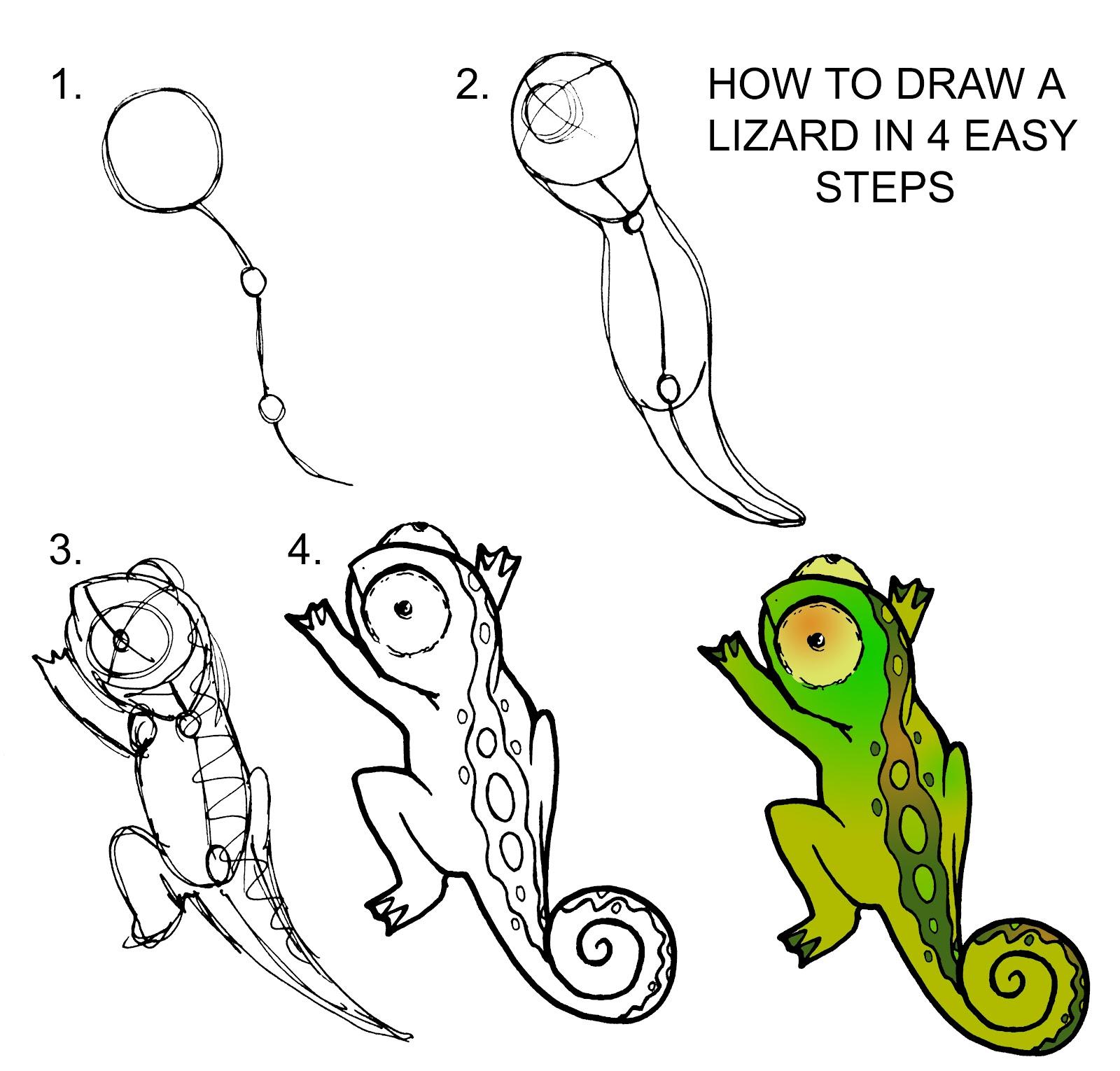 1600x1530 Drawings Of Lizards Simple Lizard Drawing Craft Ideas