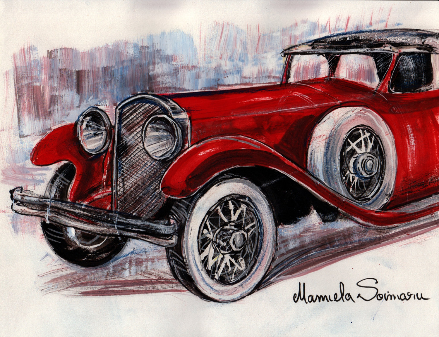 1500x1154 Downton Abbey Drawing Classic Car 1910s Car Vintage Car