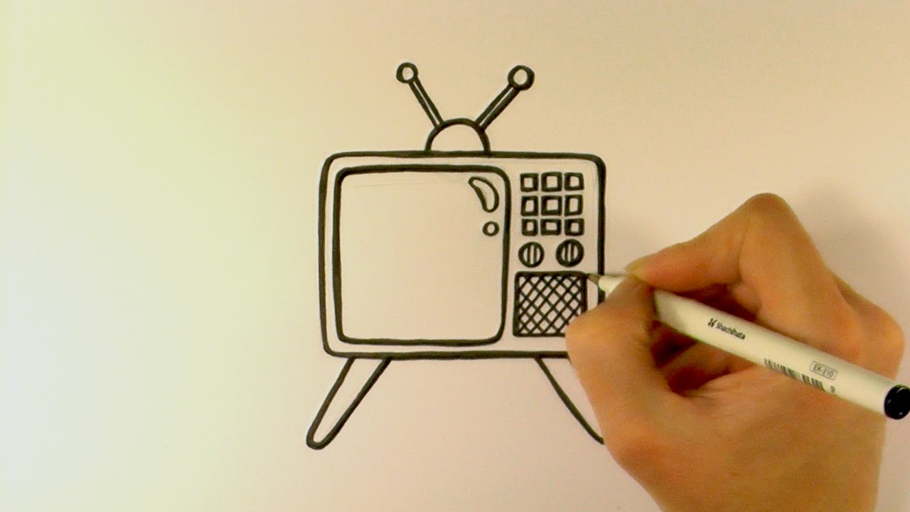 1280x720 How To Draw A Cartoon Retro Television