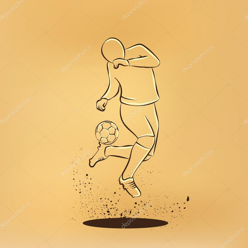 1024x1024 Soccer Player Makes A Feint. Vector Retro Drawing Illustration