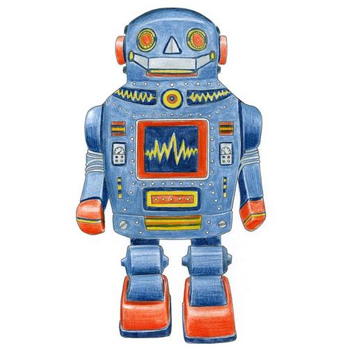 500x500 Blue Robot Drawing Pencil Drawing Of A Retro Tin Robot.