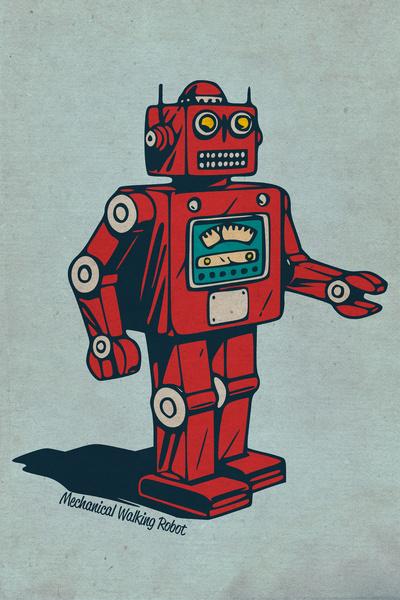 400x600 Mechanical Walking Robot Art Print Robots Amp Monkeys