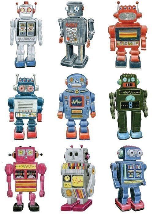 500x700 Retro Robot Drawings