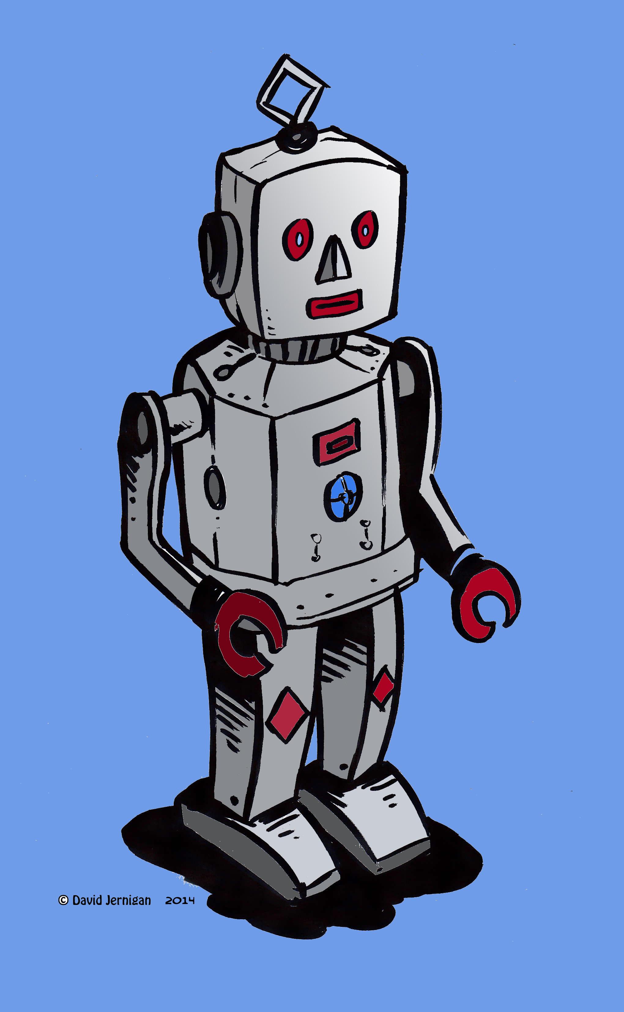2040x3308 Retro Robot Drawing Sketcharound