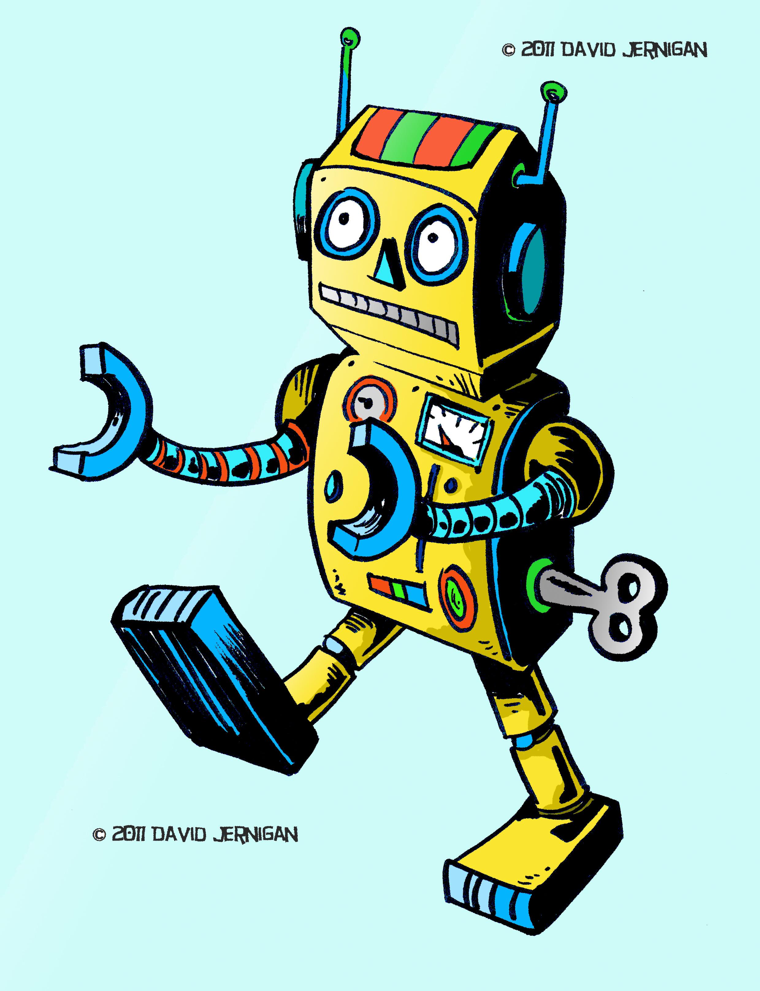 2479x3229 Retro Robot Illustration Sketcharound