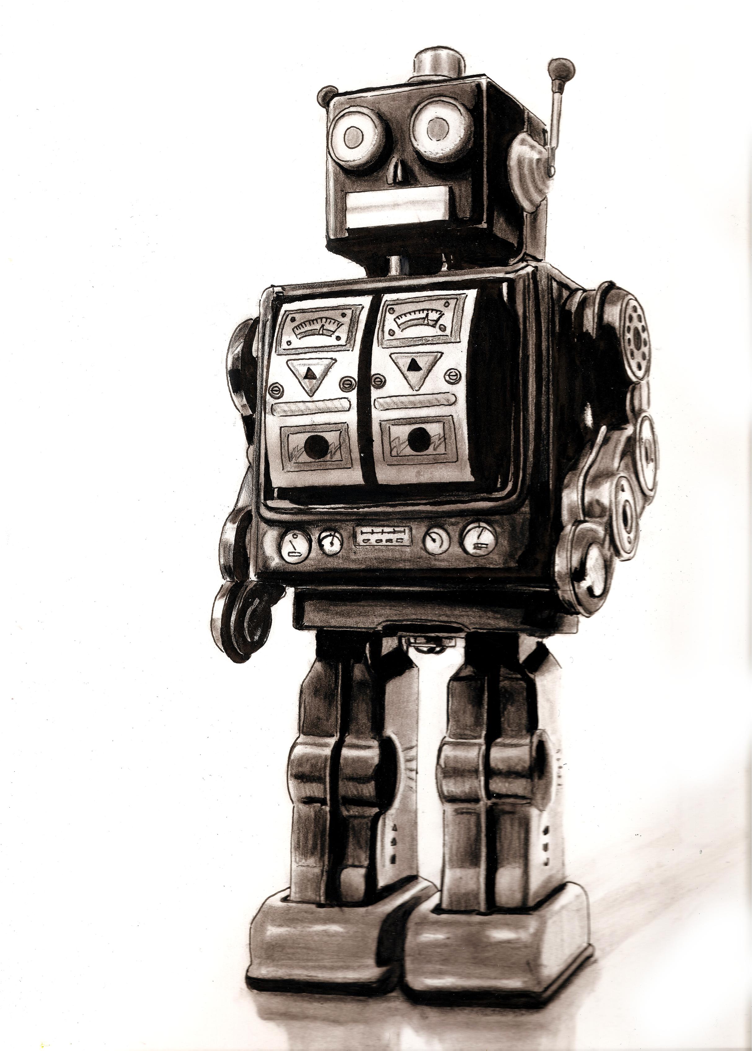 2426x3391 Retro Robot Sketch By Bobo1972