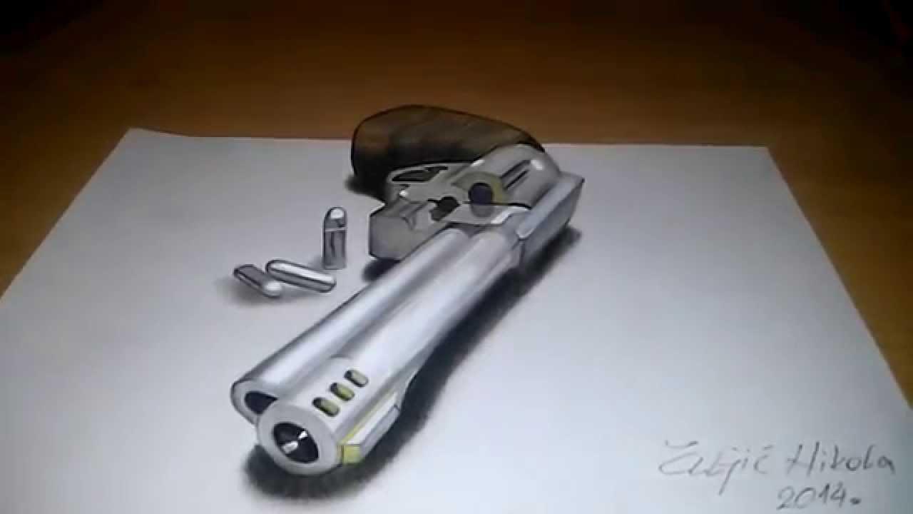 1280x720 3d Magnum Revolver Drawing