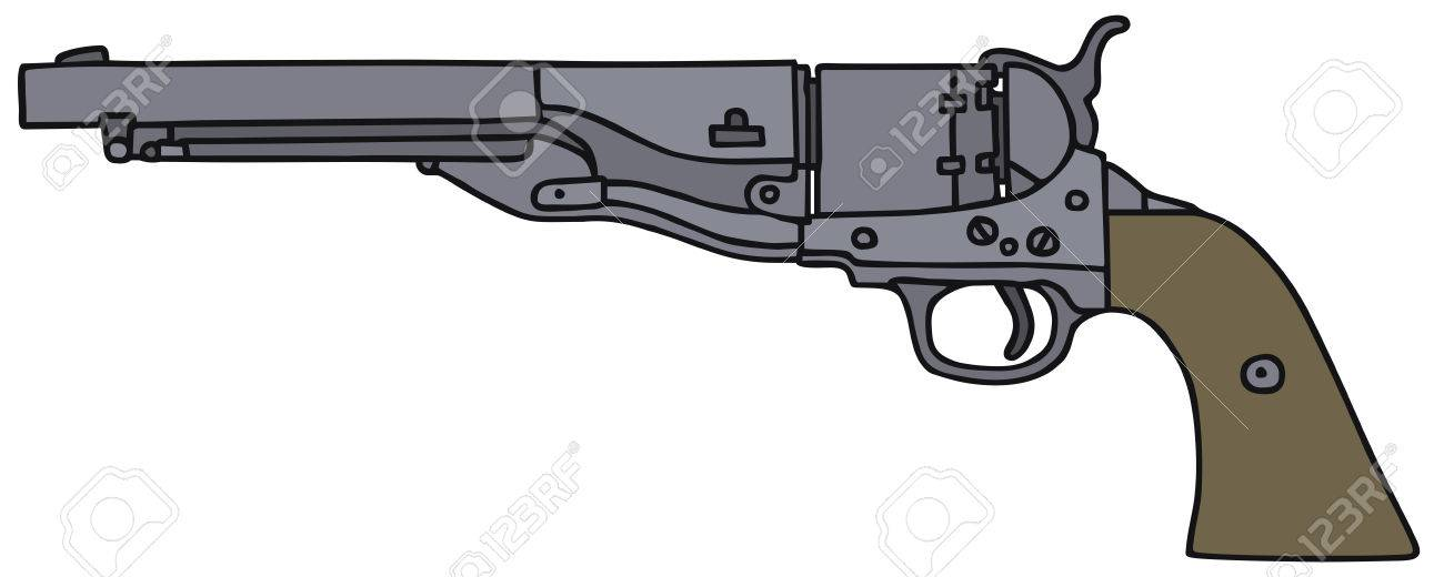 1300x520 Classic Wild West Revolver, Vector, Hand Drawing Royalty Free