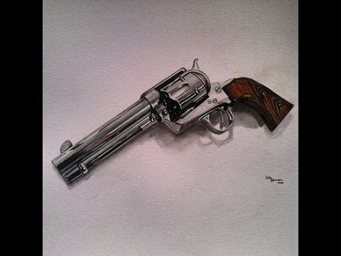 480x360 Drawing A Colt 45 Single Action Revolver Time Lapse