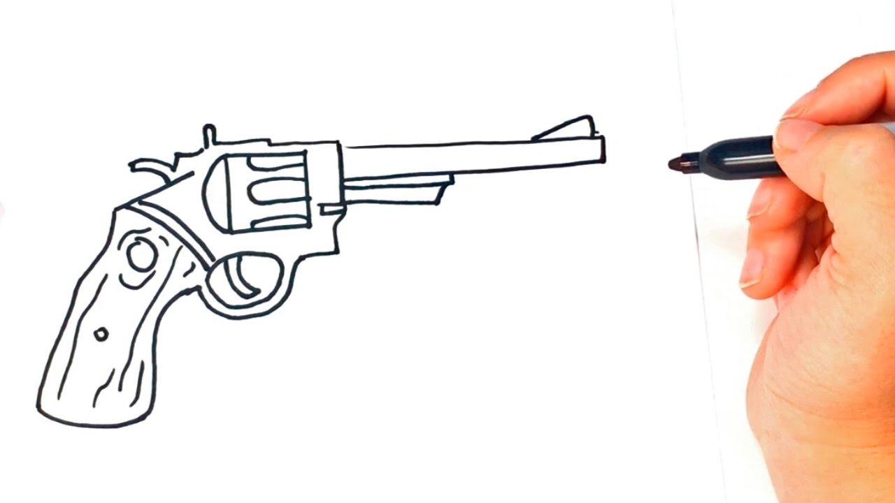 1280x720 How To Draw A Revolver Revolver Gun Easy Draw Tutorial