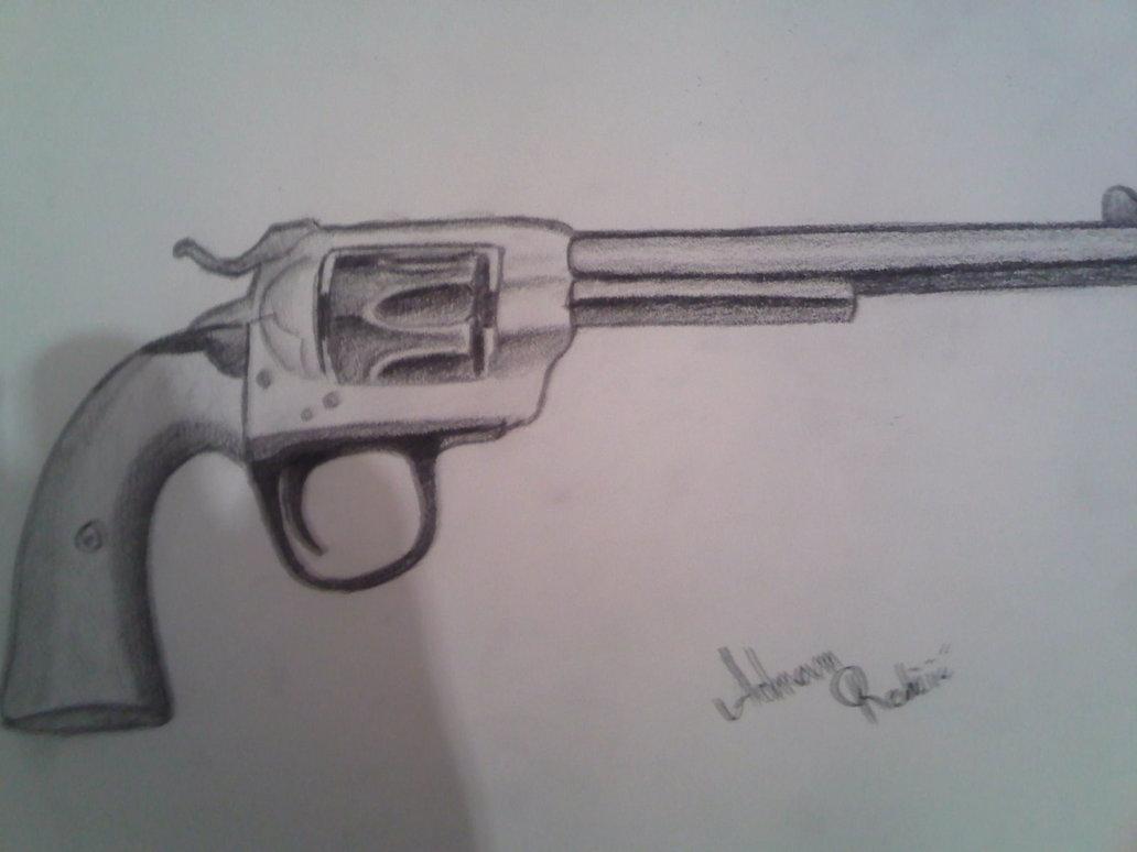 1032x774 Revolver Gun Drawing By Adnanartstudio
