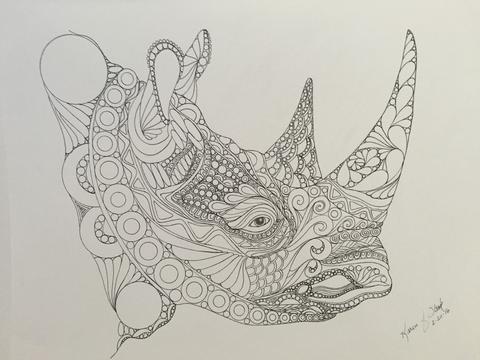 480x360 Zentangle Rhino,rhino Art,zentangle Art,rhino Head,safari Art