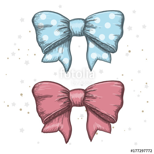 500x500 Set Of Vintage Hand Drawn Ribbon Bows. Vector Illustration Stock