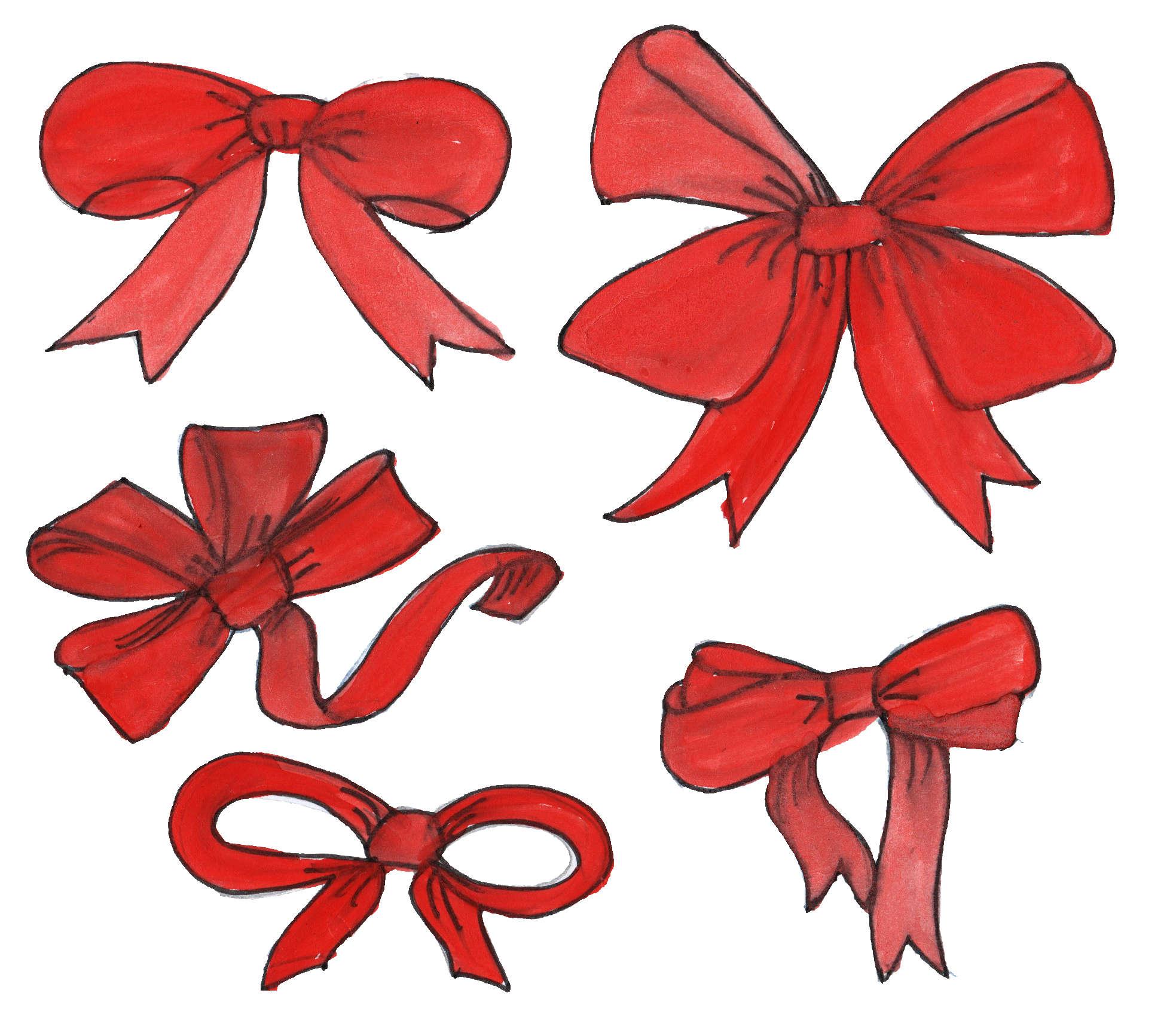 1957x1734 5 Red Ribbon Drawing (Png Transparent)