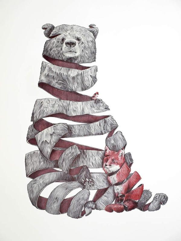 600x800 Best Bear Fox Ribbon Drawing Draw Images On Designspiration