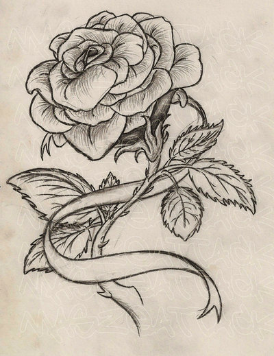 400x519 Rose With Ribbon Tattoo By Maszeattack