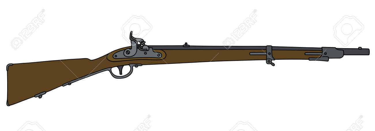 1300x454 Hand Drawing Of A Historical Military Rifle Royalty Free Cliparts