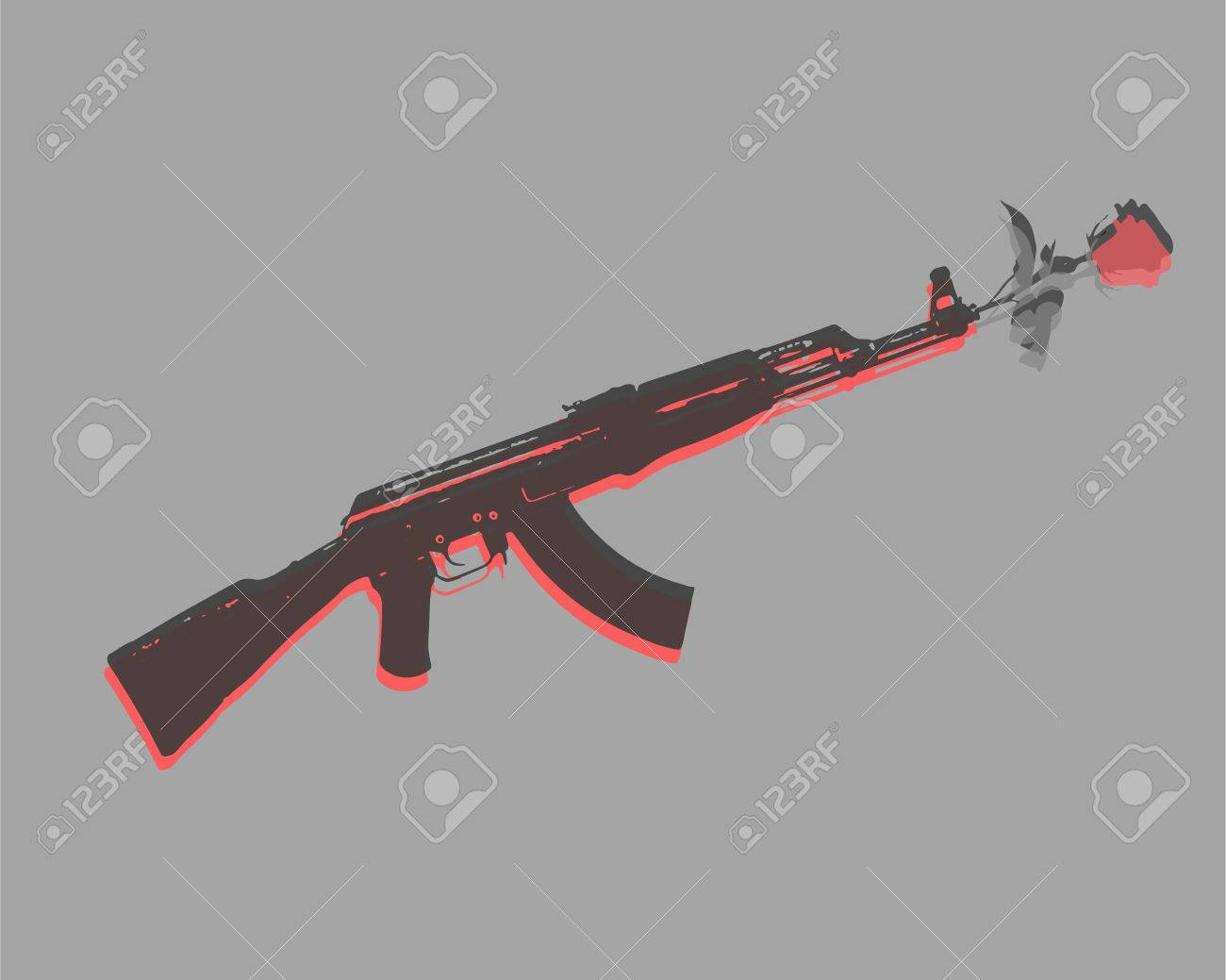 1300x1039 Hand Drawn Vector Illustration Or Drawing Of An Automatic Gun