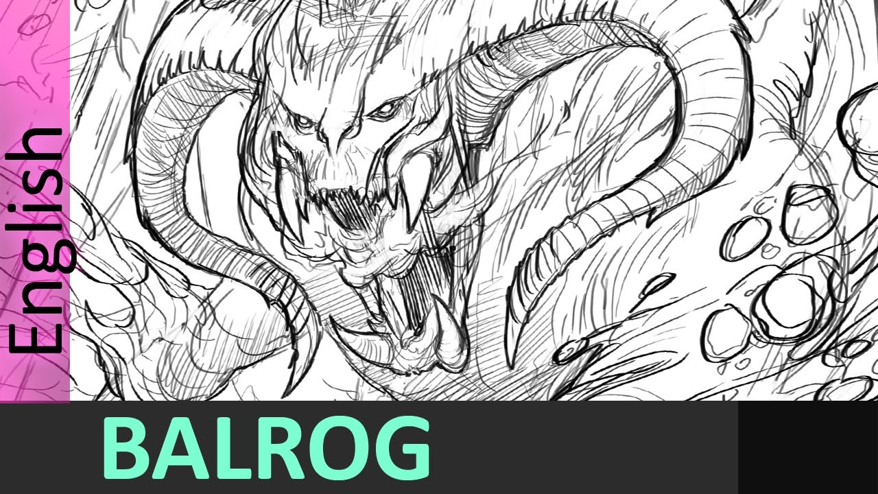 1280x720 Drawing The Balrog From Lord Of The Rings , Jesus Conde