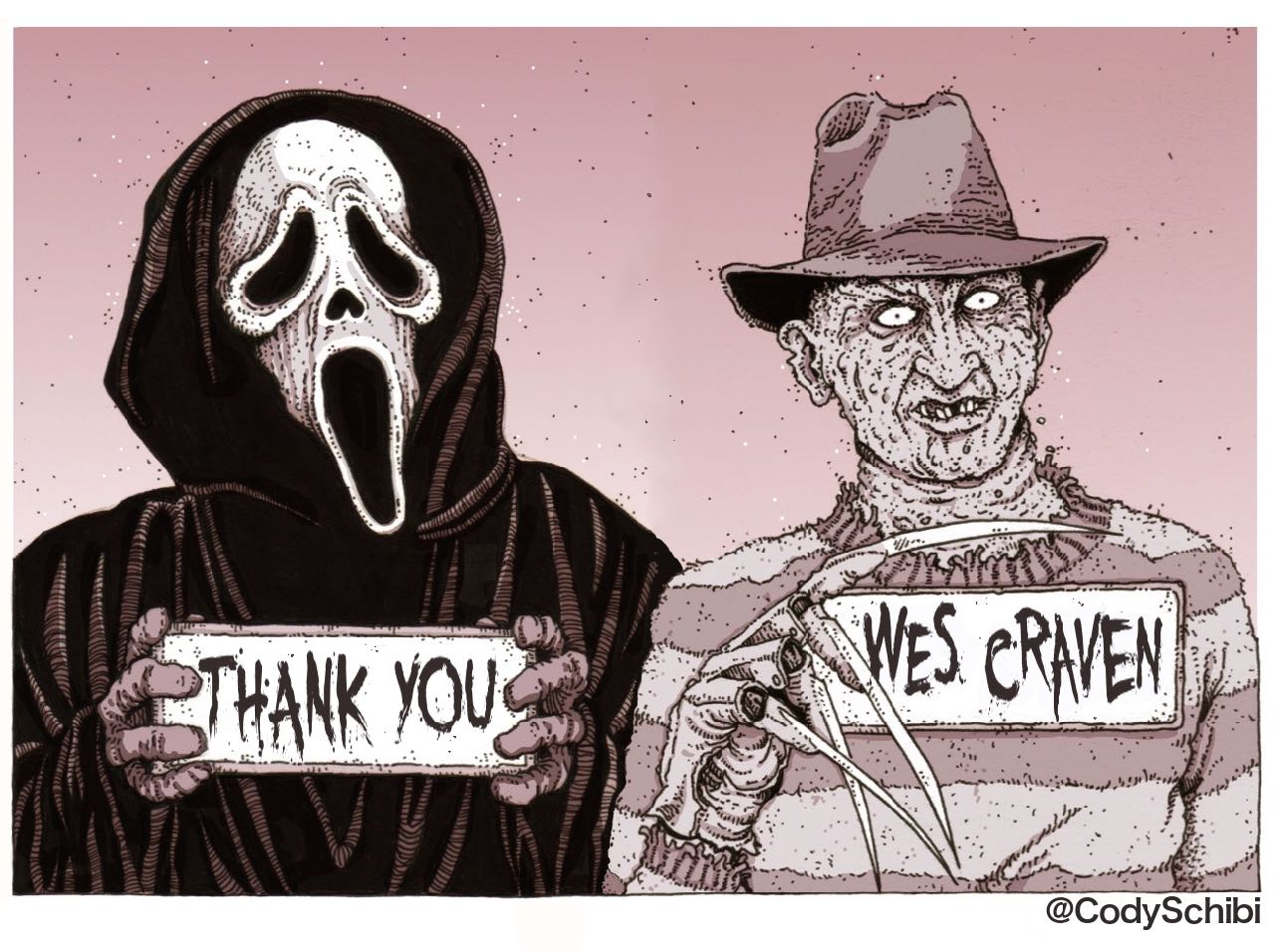 1280x956 Drawing A Blank The Art Of Cody Schibi Rip Wes Craven