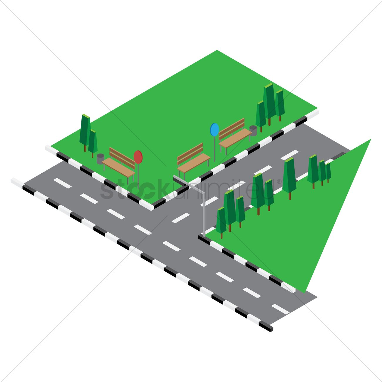 1300x1300 Isometric drawing of road junction Vector Image