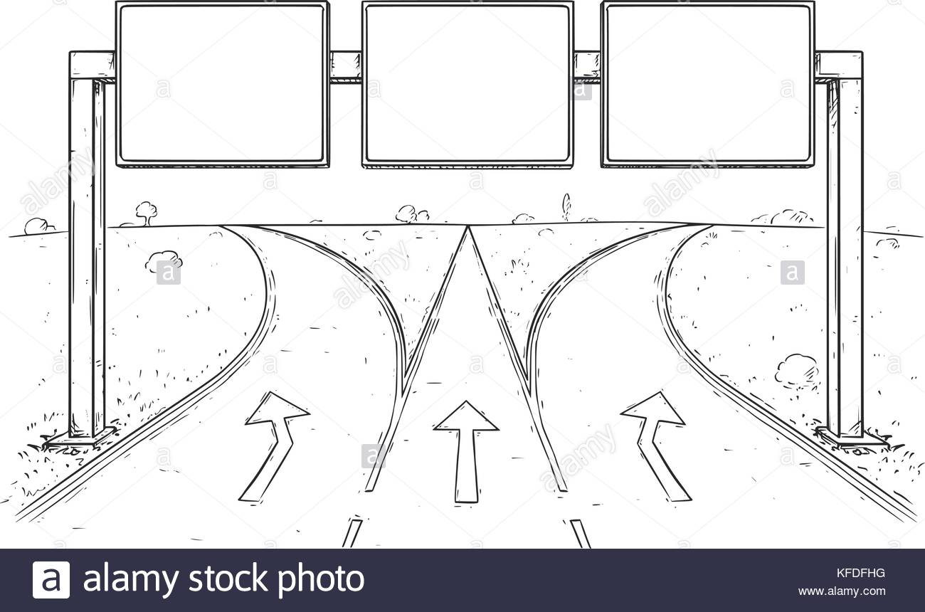 1300x860 Vector Cartoon Drawing Of Blank Empty Road Sign On Three Lines