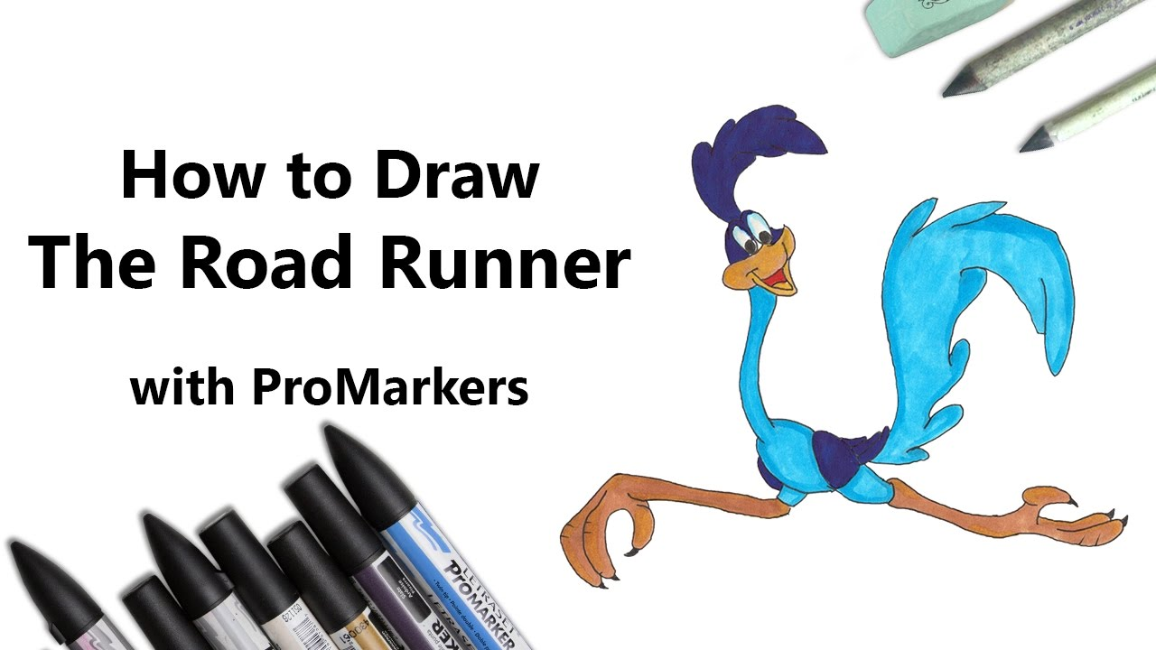 1280x720 How To Draw And Color The Road Runner With Promarkers [Speed