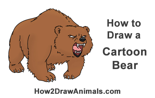 500x315 How To Draw A Bear Roaring (Cartoon)