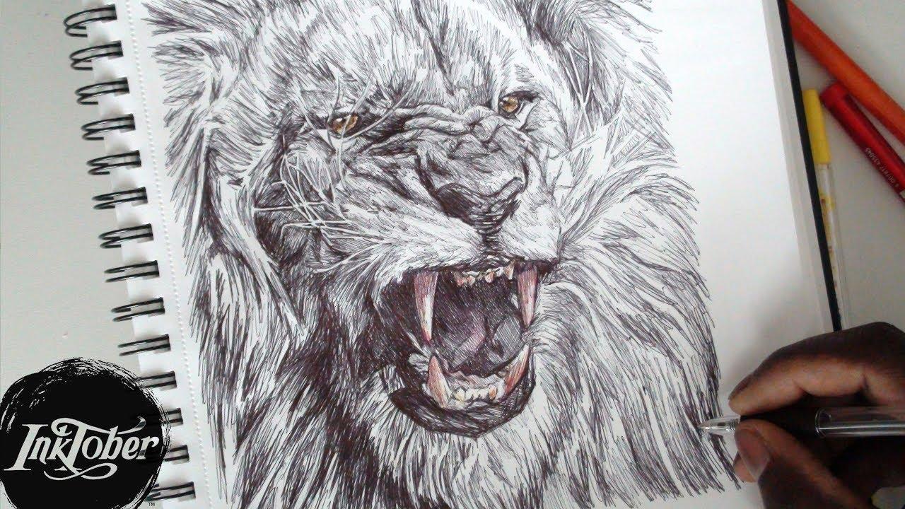 1280x720 Epic Lion Roar Pen Drawing