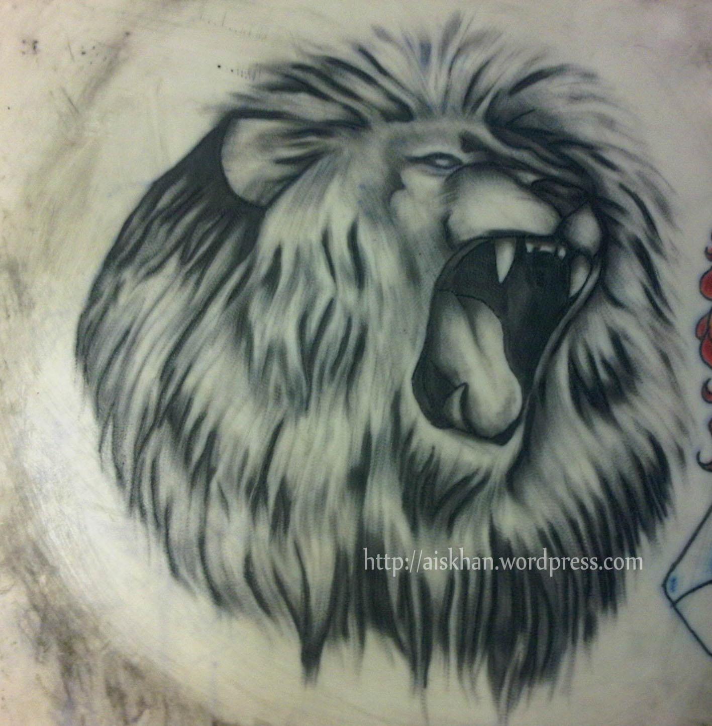 1417x1443 Pencil Sketch Of Roaring Lion Lion Ayesha Khan