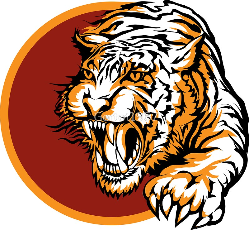 800x738 Roaring Tiger Logo Design Stickers By Gertot1967 Redbubble