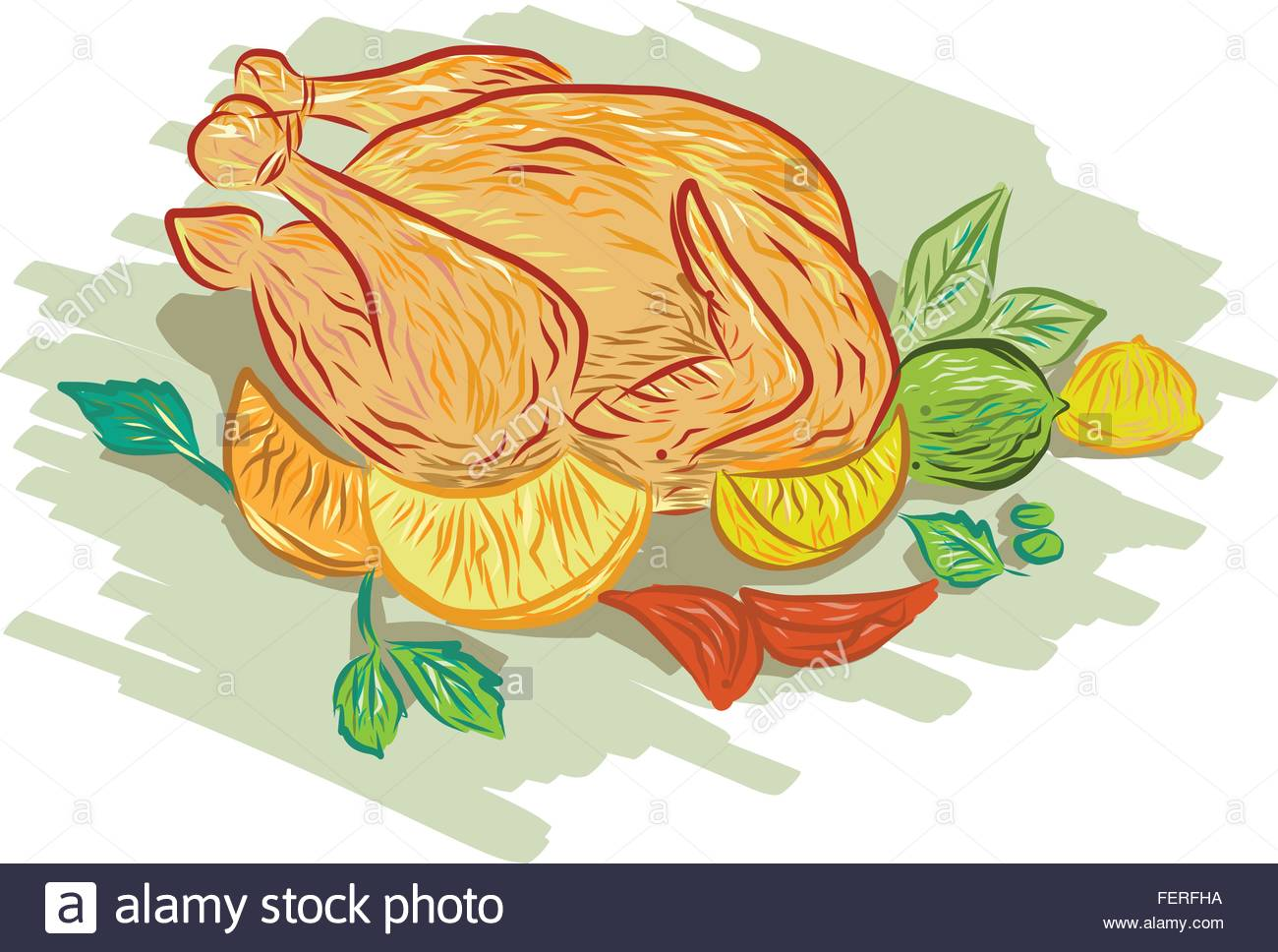1300x968 Drawing Sketch Style Illustration Of Roast Chicken And Vegetables