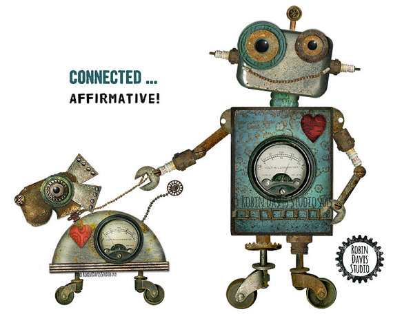 570x456 Robot And Robot Dog Art Print 8x10retro Robot By Robindavisstudio
