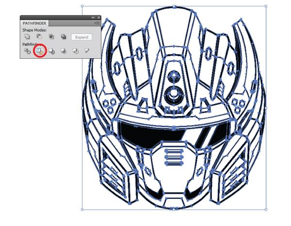 600x466 Create A Futuristic Robot Helmet In A Line Art Style In Adobe