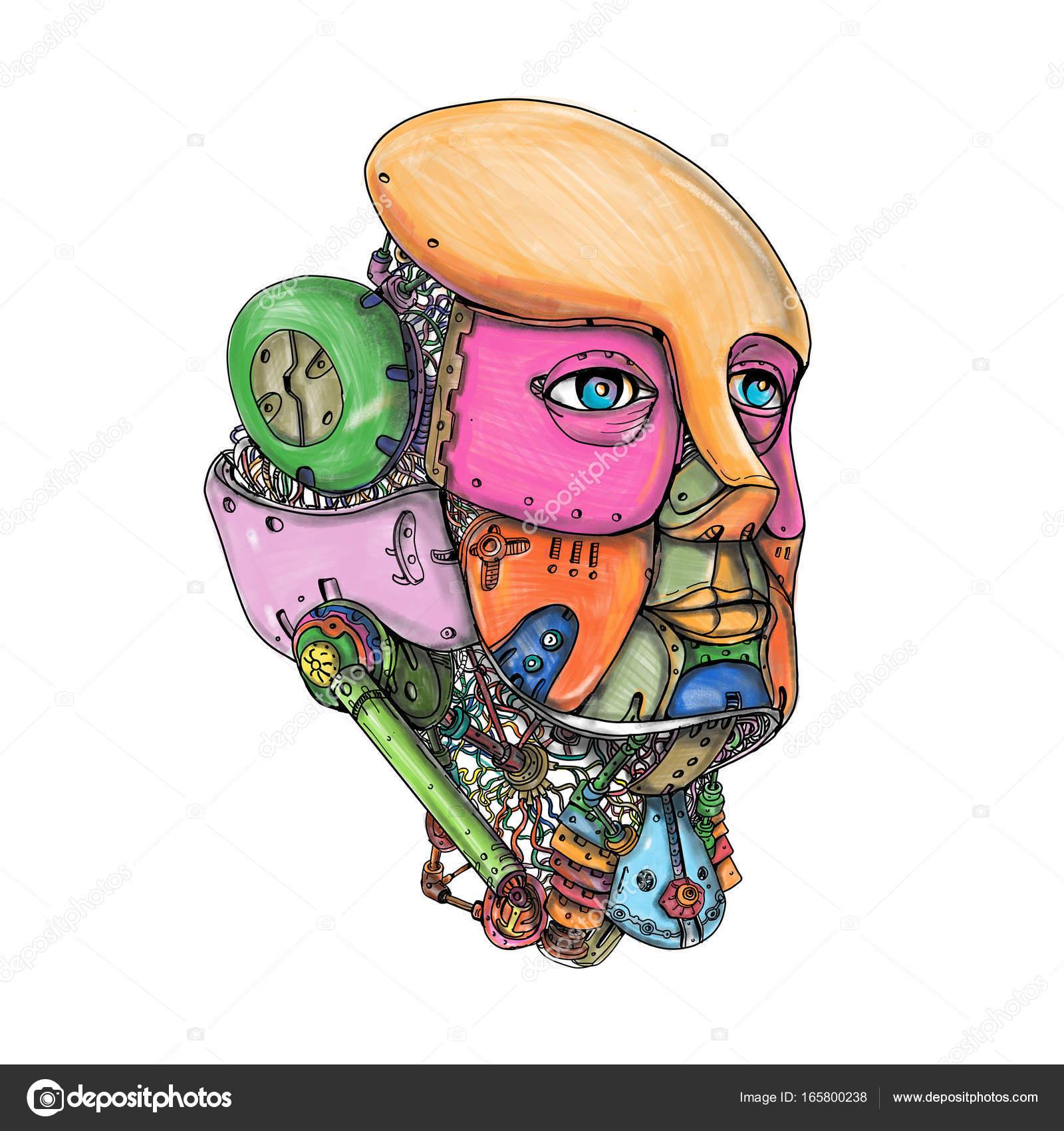 1600x1700 Female Humanoid Robot Head Tattoo Stock Photo Patrimonio